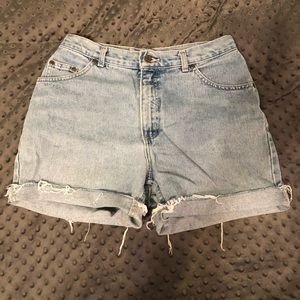 Vintage high waisted cutoff denim shorts